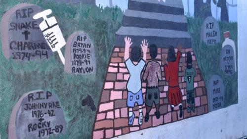 Memorial mural closeup