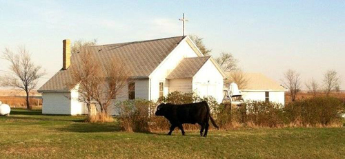 St. James' Episcopal Church in Cannon Ball, North Dakota, before a fire destroyed the property on July 25.