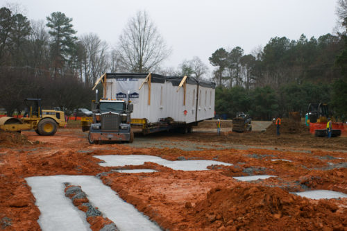 The main section of the chapel prepares to roll on to it's new footers in Chapel Hill. Photo/Thomas Fisher