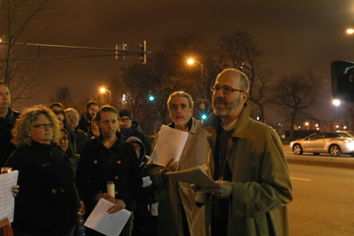 """Chicago Bishop Jeffrey Lee was among 300 people gathered Dec.17 at First Baptist Congregational Church in Chicago for """"Silent Nights,"""" an interfaith service aimed at curbing gun-related violence. Photo/Connie Wilson"""