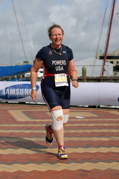 The Rev. Fairbairn Powers of St. Agnes Episcopal Church in Little Falls, New Jersey, runs at the International Triathlon Union Age Group and Sprint World Championships in Auckland, New Zealand.