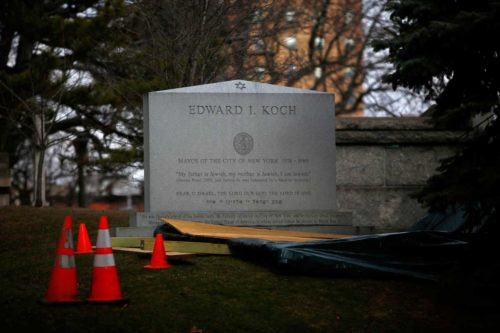 A headstone is seen bearing the name of former New York City mayor Ed Koch at a cemetery in New York, February 1, 2013. Koch, the voluble three-term mayor who helped bring New York back from the brink of fiscal ruin in the 1970s and came to embody the city with his wry, outspoken style, died on Friday at the age of 88. REUTERS/Eric Thayer