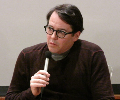 """Matthew Broderick fields questions about the movie """"Infinity,"""" which he directed and acted in, during the Lenten series at St. Peter's Episcopal Church, Morristown, New Jersey. Photo/Sharon Sheridan"""