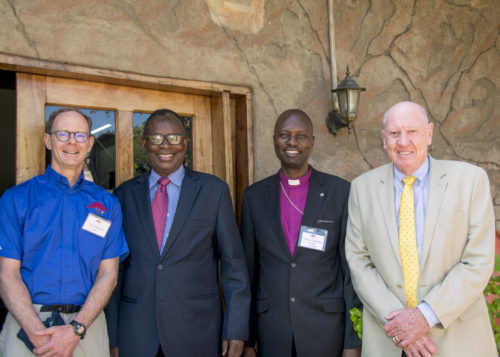 Christopher Flowers, Co-Founder of the Isdell:Flowers Cross Border Malaria Initiative; The Minister of Health of Zambia, Dr. Joseph Kasonde; Bishop Cleophas Lunga of the Anglican Diocese of Matabeland; Neville Isdell, Co-Founder of the Isdell:Flowers Cross Border Malaria Initiative.