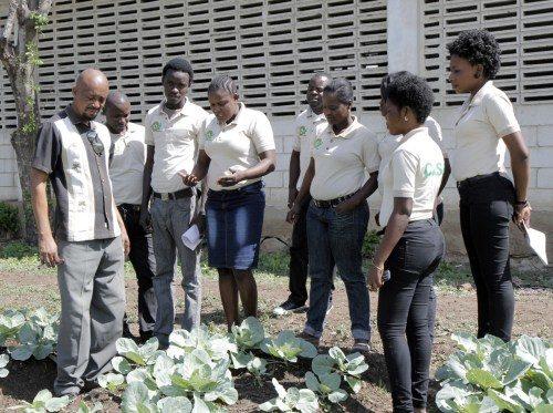 Georges Gabriel Étienne, qui enseigne la botanique et les cultures maraîchères, conduit ses élèves pour une leçon en extérieur sur le terrain test. Photo: Lynette Wilson/Episcopal News Service
