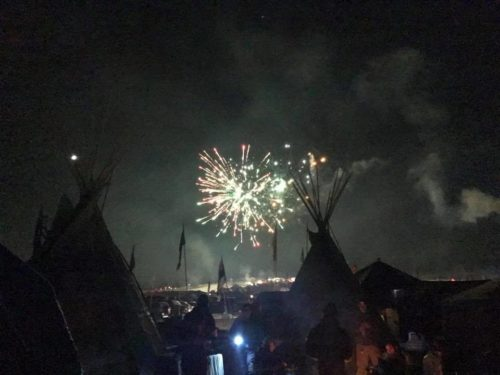 Fireworks marked the celebration over the Oceti Sakowin Camp following the federal government's Dec. 4 announcement that it would not allow the Dakota Access Pipeline to cross under the Missouri River at Lake Oahe. Photo: Michael Pipkin/Facebook