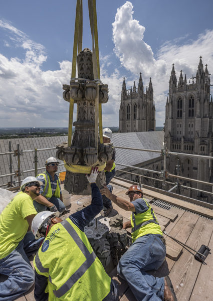 National Cathedral pinnacle reinstall