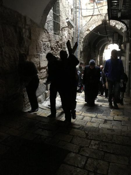 Darkened procession