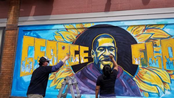 George Floyd mural in progress
